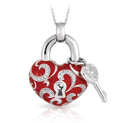 """Key to My Heart"" Red Necklace"
