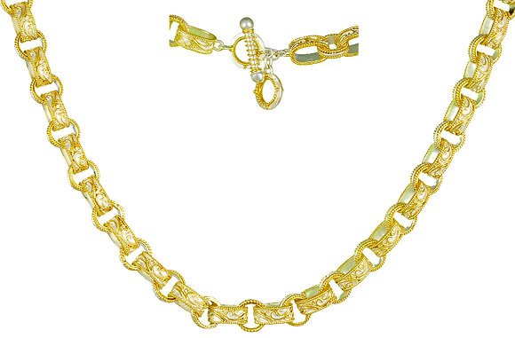 Narrow Scroll Link Necklace