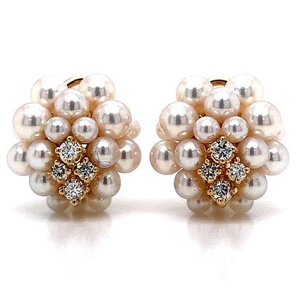 Mikimoto Cultured Pearl & Diamond Cluster Earrings