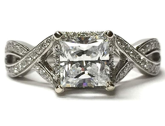 Criss-Cross Diamond Engagement Ring Mounting
