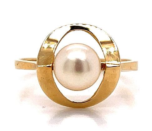 Akoya Cultured Pearl Inverted Circle Ring