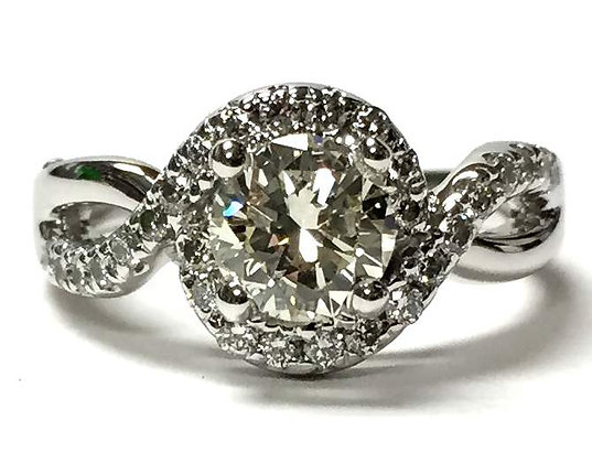 Swirl Halo Diamond Engagement Ring Mounting