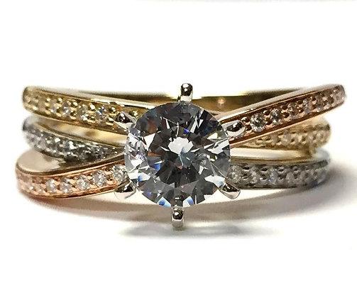 White, Yellow, & Rose Gold Diamond Engagement Ring Mounting