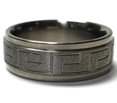 Titanium Greek Key Wedding Ring