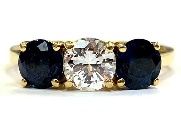 3-Stone Sapphire & Diamond Ring