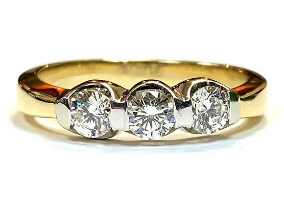 3-Stone Two-Tone Diamond Ring