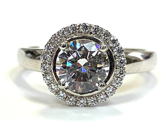 Halo Engagement Ring Mounting With European Shank