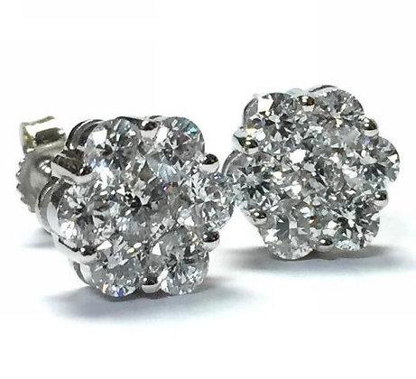 Diamond Cluster Earrings- 1/4 CTW