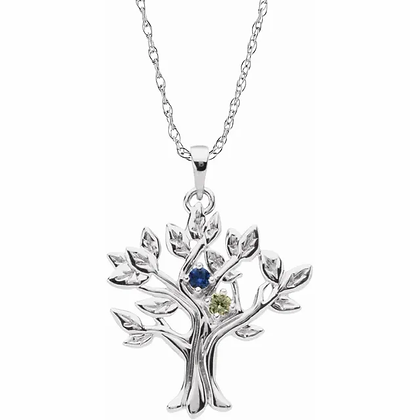 """""""My Tree"""" Family Tree Pendant - 2 Stone"""