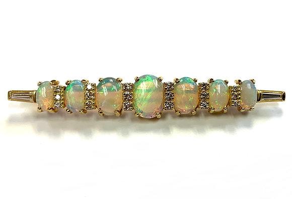 Custom Designed Opal & Diamond Pin