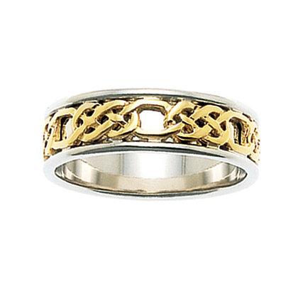 """""""Love"""" Celtic Weave Wedding Ring"""