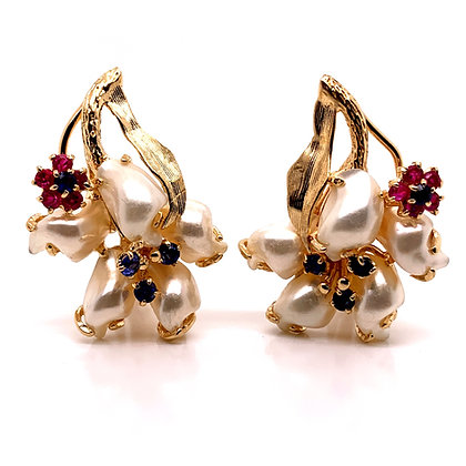 Late Retro Floral Earrings c1960
