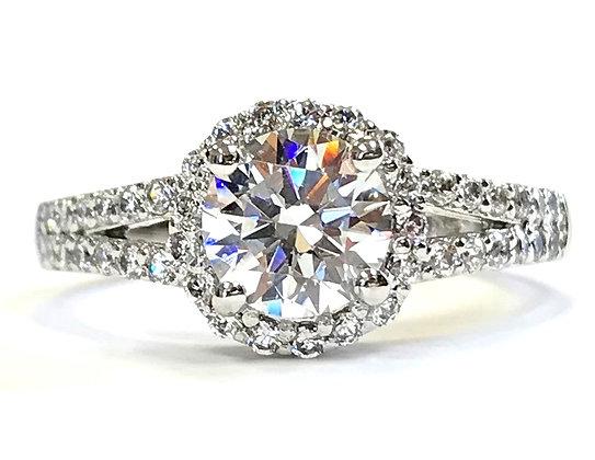 Halo Split Shoulder Diamond Engagement Ring Mounting