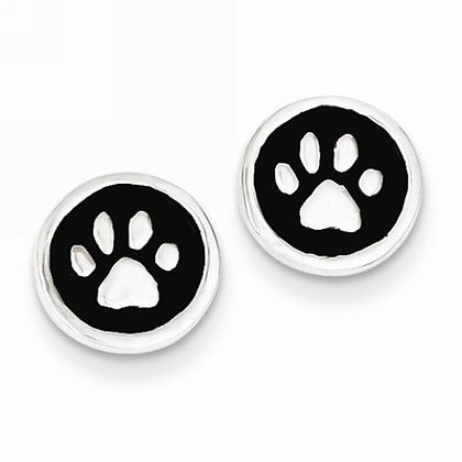 Paw Print Black Enamel Earrings