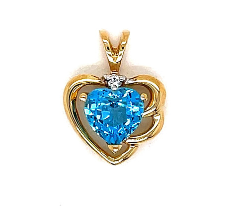 London Blue Topaz Heart Pendant