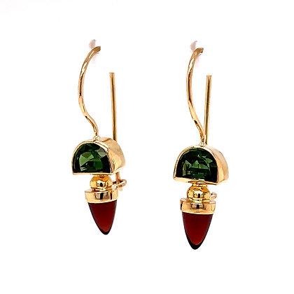 Green & Red Tourmaline Dangle Earrings