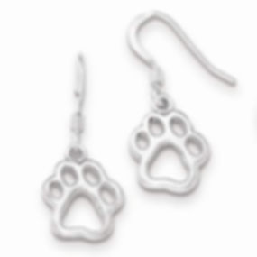 sterling silver paw print dangle earrings