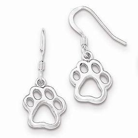 sterling silver paw print dangle earrings