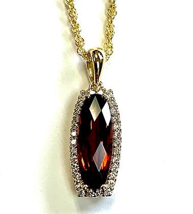 Garnet Halo Necklace