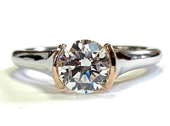 Rose & White Gold Semi-Bezel Engagement Ring Mounting