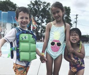 cute kids at swimming pool