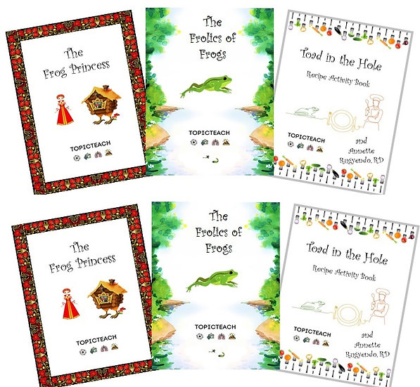 2 Printed Sets of the  3 Frog Activity Books