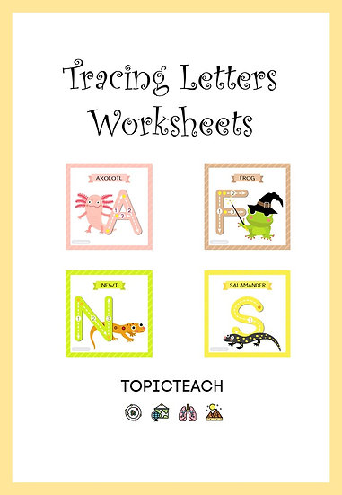 Amphibian Themed Letters to Trace for Younger Children