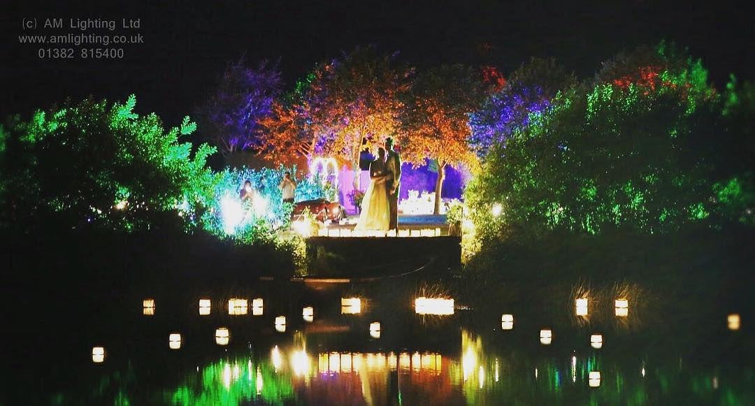 Garden Pond Wedding Lighting