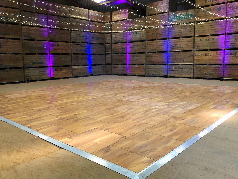 30' x 30' Auckland Oak Dance Floor and Fairy Light Canopy