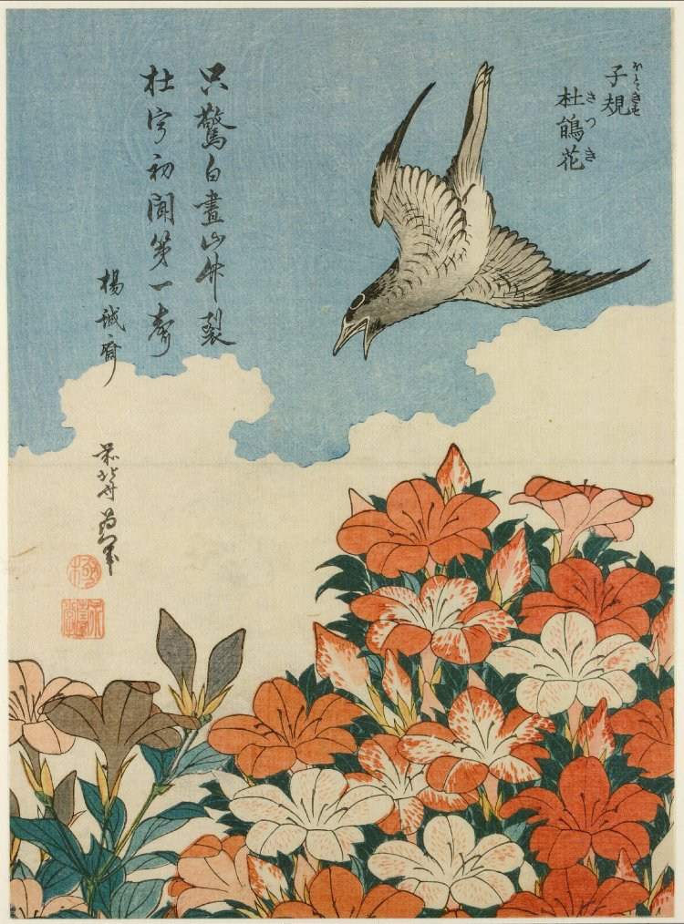 Ukiyo-e woodblock print of a cuckoo and azaleas