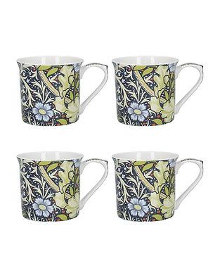 John Henry Dearle Coffee Mugs with Printed 'Seaweed' Design