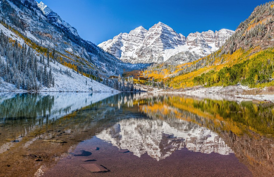 An autumn view of the Maroon Bells