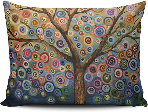 SALLEING Modern Beauty Colorful Painting Trees One Side Decorative Pillowcase