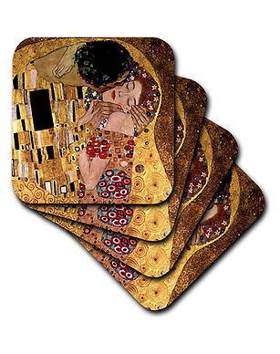 The Kiss by Gustav Klimt a Set of Eight Soft Coasters