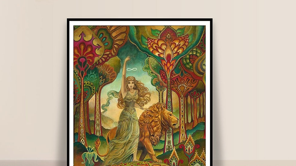 Strength Tarot painted by Emily Balivet in Art Nouveau Style (2013)