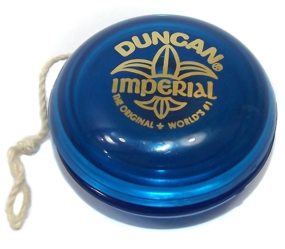 This is a vintage semi-transparent blue plastic Imperial yo-yo by Duncan.