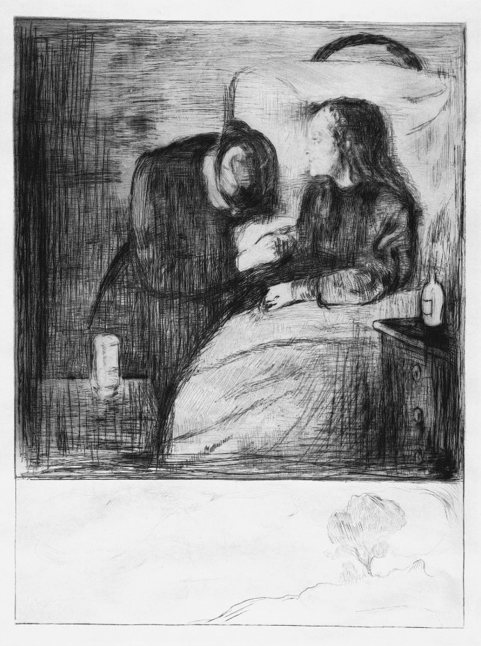 The Sick Child, a drypoint by Edvard Munch