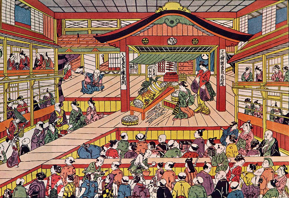 Shibai Ukie by Masanobu Okumura, depicting the Kabuki theatre Ichimura-za in its early days.