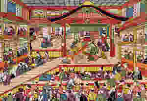 Shibai Ukie by Masanobu Okumura, depicting the Kabuki theatre Ichimura-za in its early days.