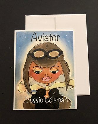 Bessie Coleman Figures   Notecard