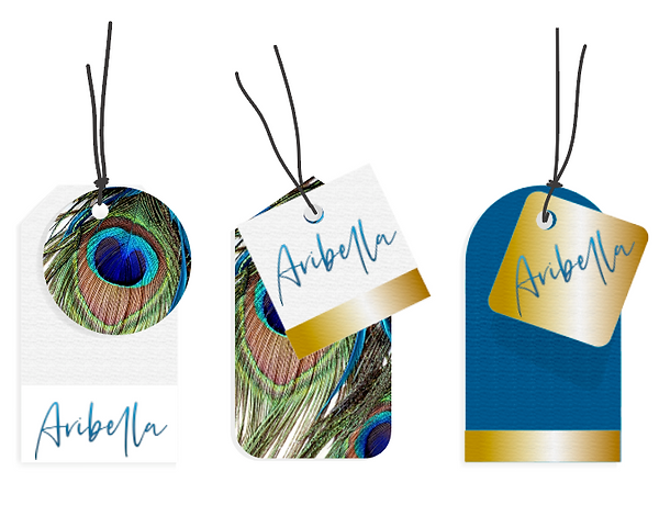Image of beautifully designed fashion swing tags with peacock design