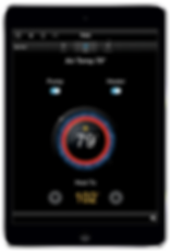 Smart Thermostat Control iOS and Android Screen Interface by Nu Automations for your smart home and home automation needs.