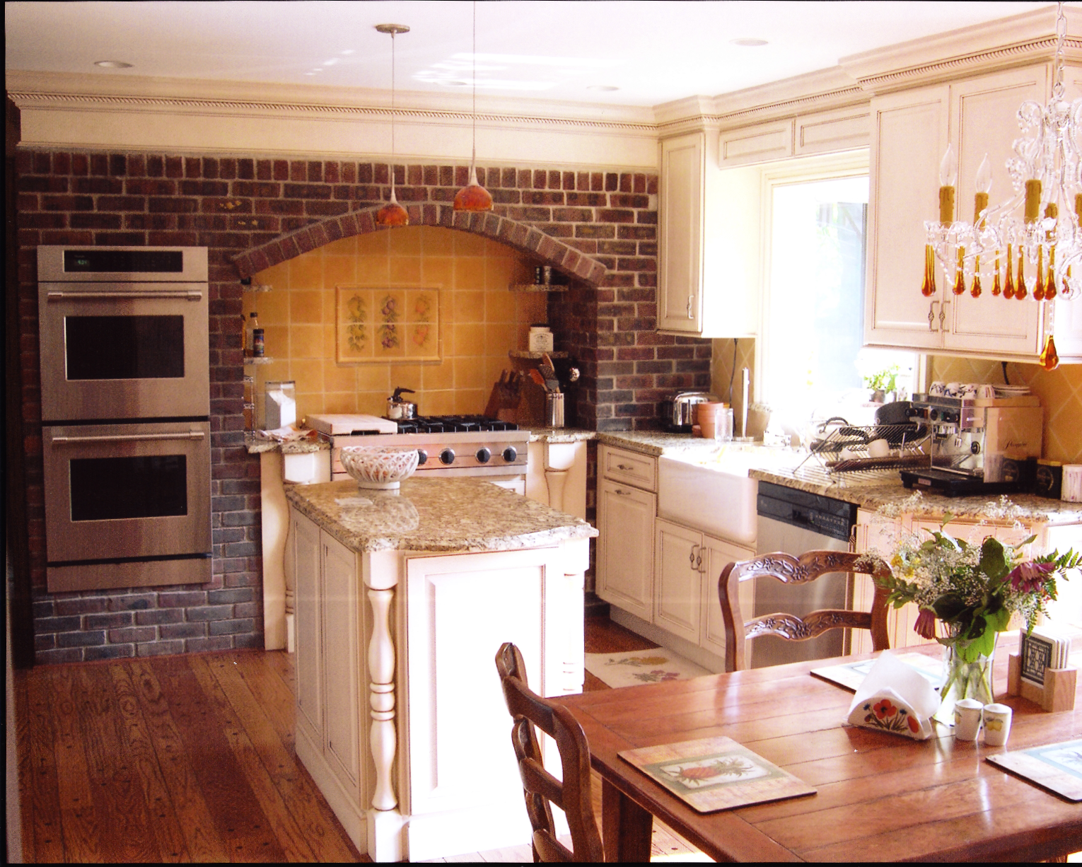 Red-Brick-Kitchen-White-Cabinets