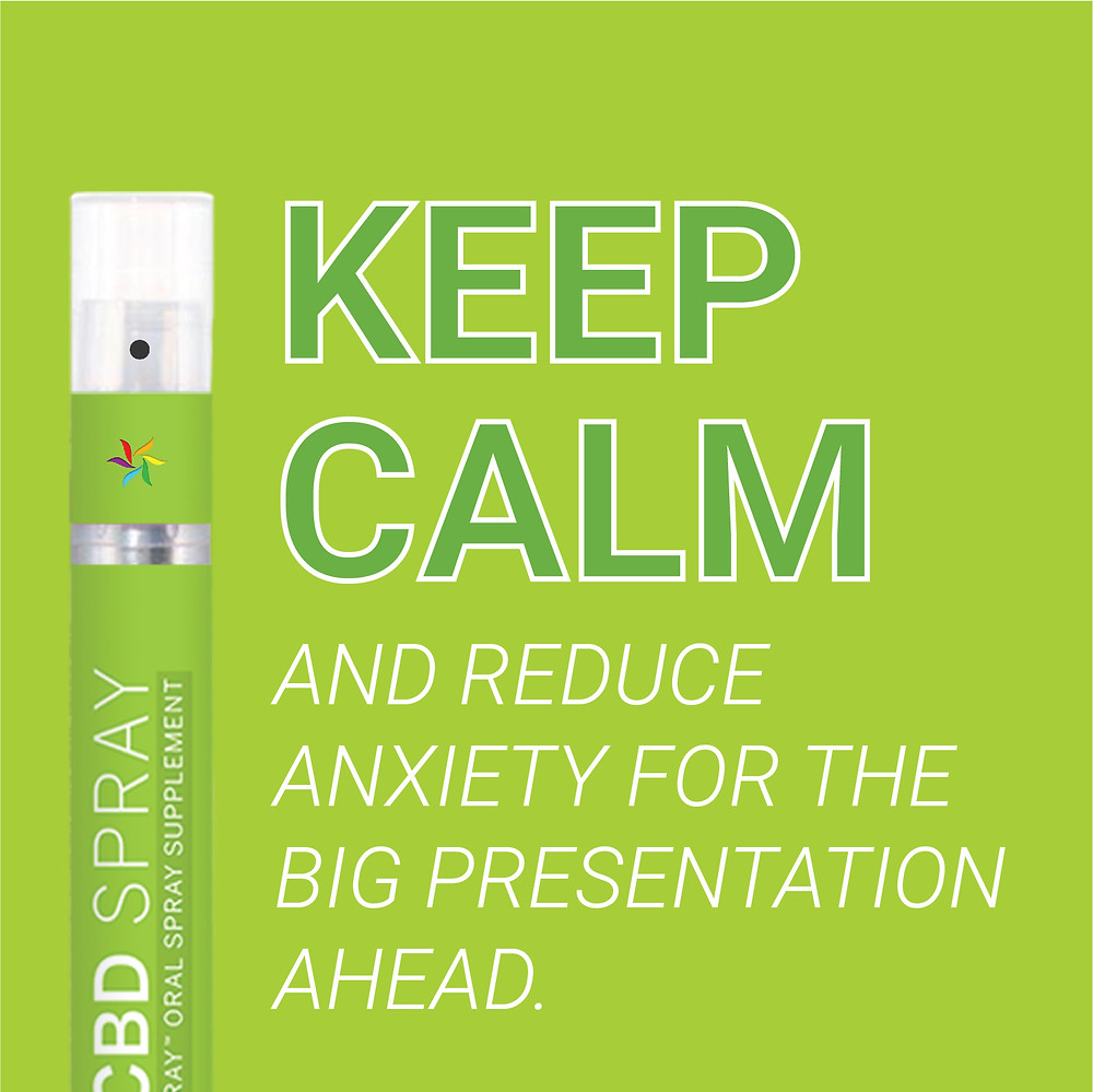 Keep calm and reduce anxiety for the big presentation ahead. Spectraspray Oral Spray Vitamins. The Future of Vitamins. CBD.
