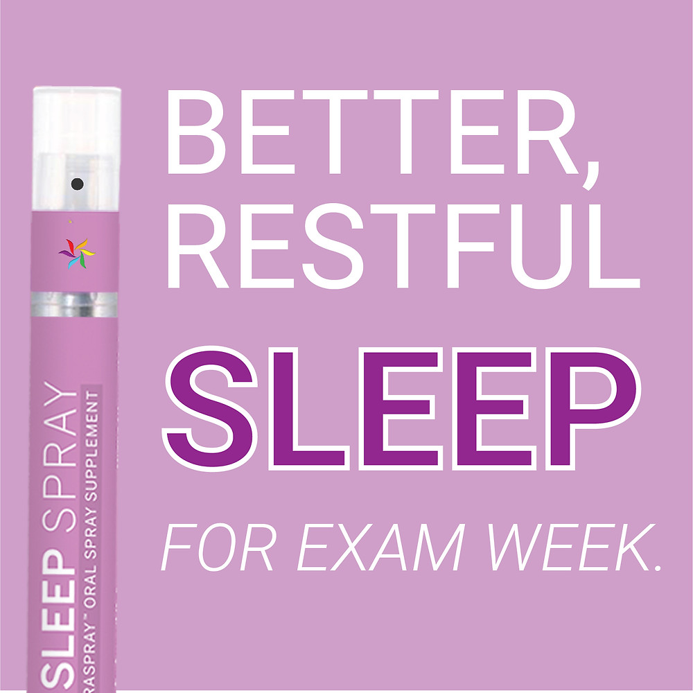 Better Restful Sleep for Exam week with SpectraSpray Sleep Support Spray. Spectraspray Oral Spray Vitamins. The Future of Vitamins.