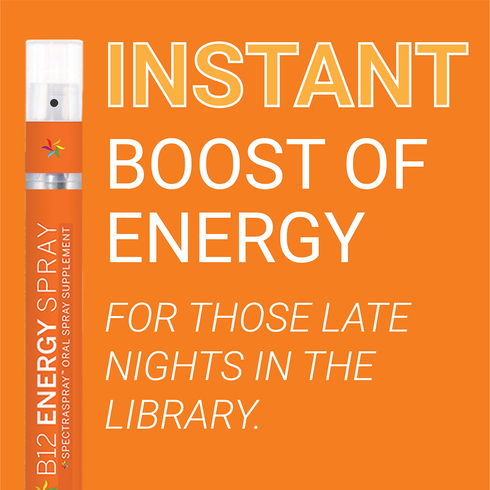 Instant Boost of Energy for those late nights in the library. B12 Instant Natural Energy Spectraspray Oral Spray Vitamins. The Future of Vitamins.