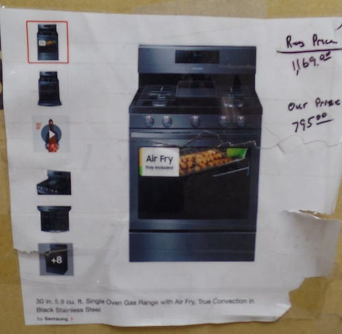 Samsung 5.9 cu. ft, Single Oven Gas Range W/ Air Fry, True Convection in Black
