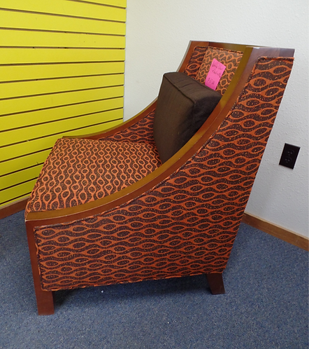 Accent Chair Orange w/ Built In Pillow
