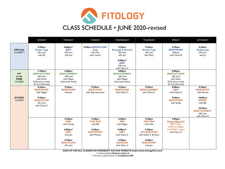 JUNE 2020 FITOLOGY SCHEDULE & Park Locations- REVISED