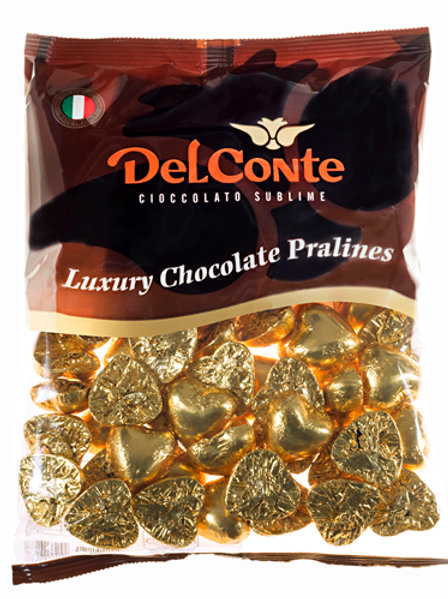 שוקולד (Delconte) לבבות זהב פרווה  500 גרם משקולדיס
